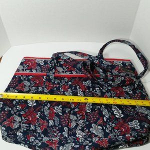Large Quilted Tote 7 Pockets Red White & Blue